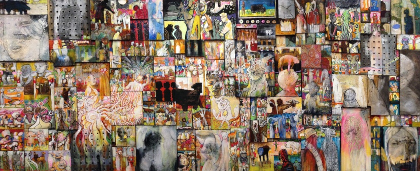 over 200 collaged paintings on a 3 x 7 foot panel.  mixed media.