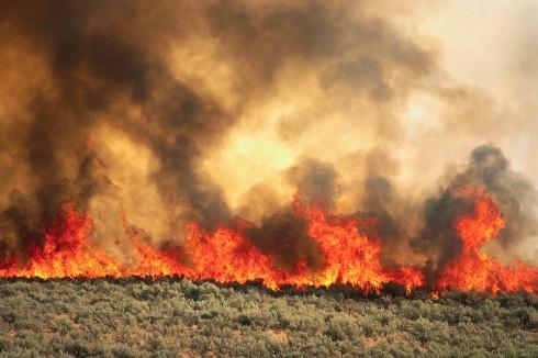 Brush Fire Along I-84 ca. 1990s Near Boise, Idaho, USA